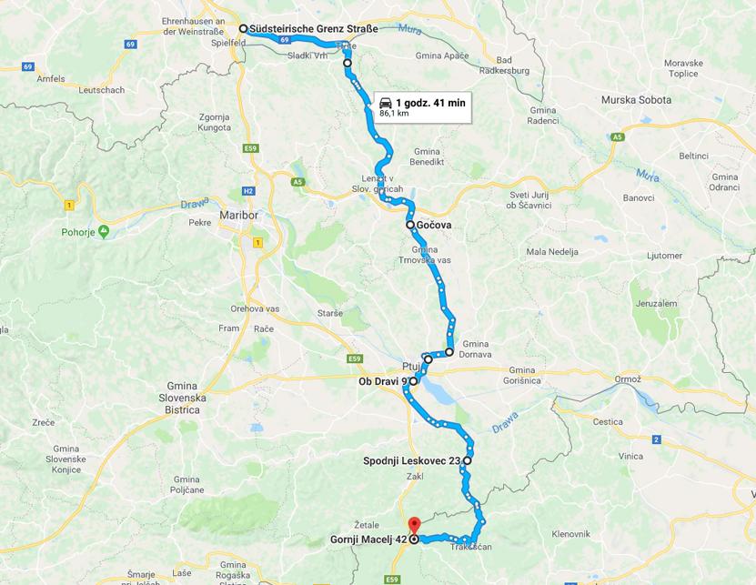 objazd 2 przez Słowenię