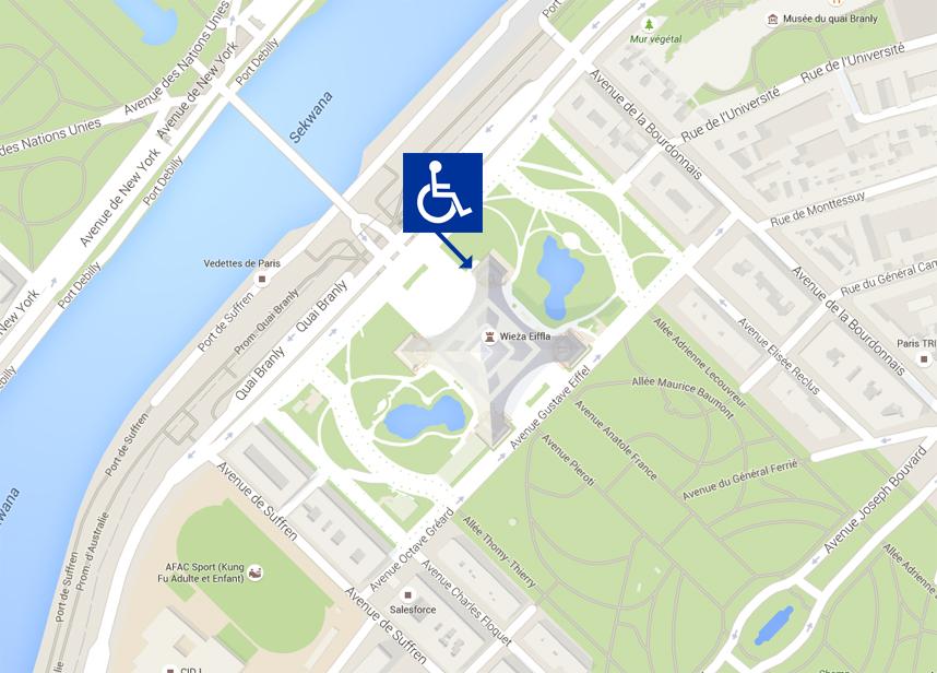 wejście dla niepełnosprawny na wieżę Eiffla