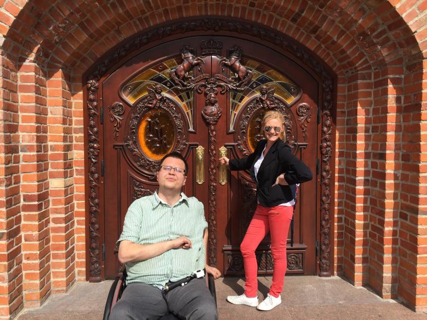 wysadzane bursztynami drzwi w Kaliningradzie