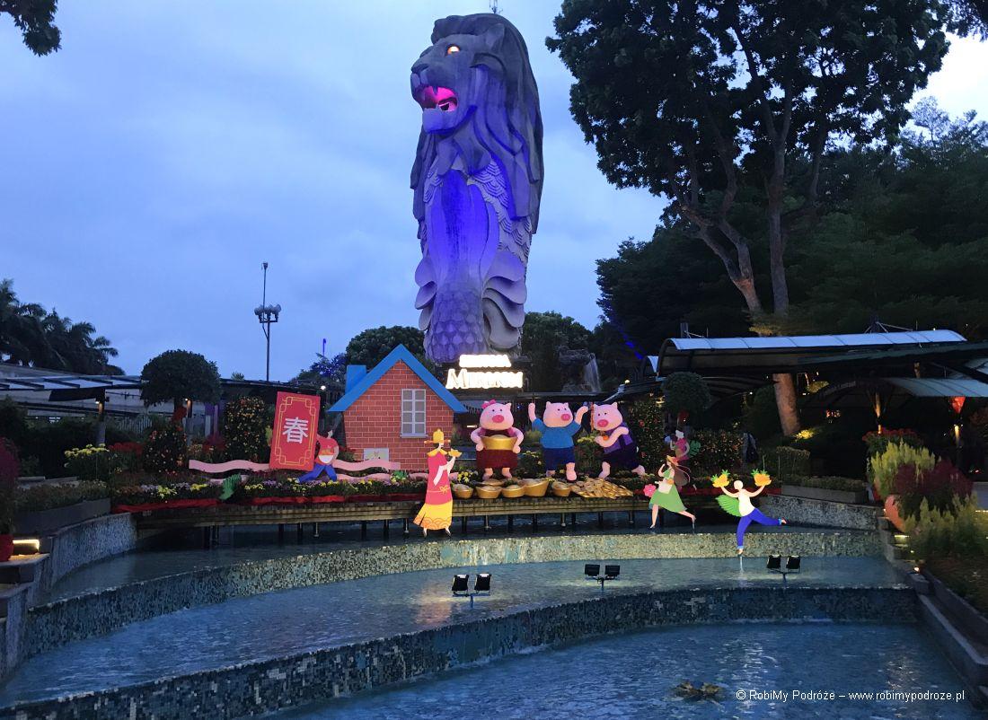 Merlion nawyspie Sentosa - Plan zwiedzana Singapuru