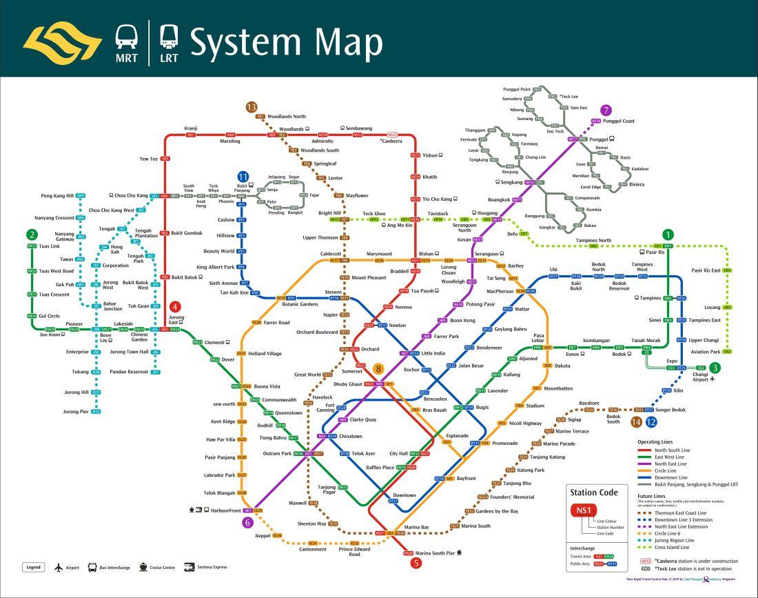 metro wSingapurze - mapa