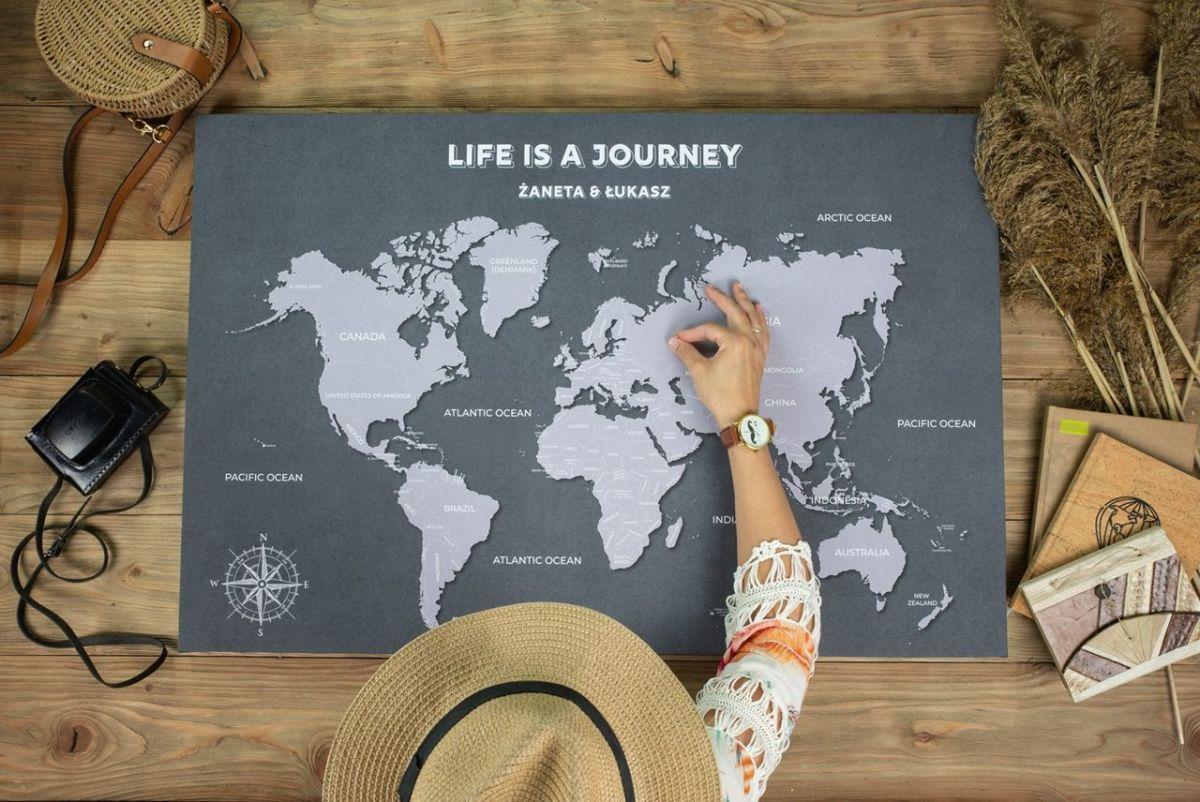 Personalizowana mapa świata dla podróżnika
