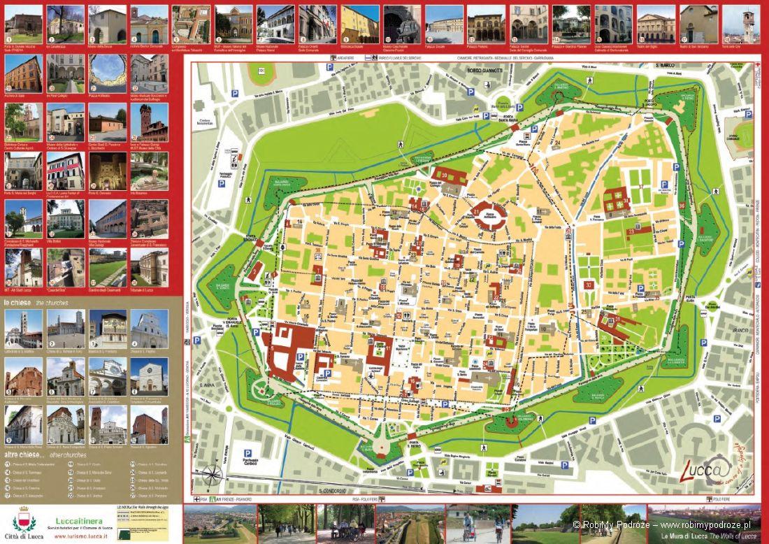 plan historycznego centrum Lukka co warto zobaczyć