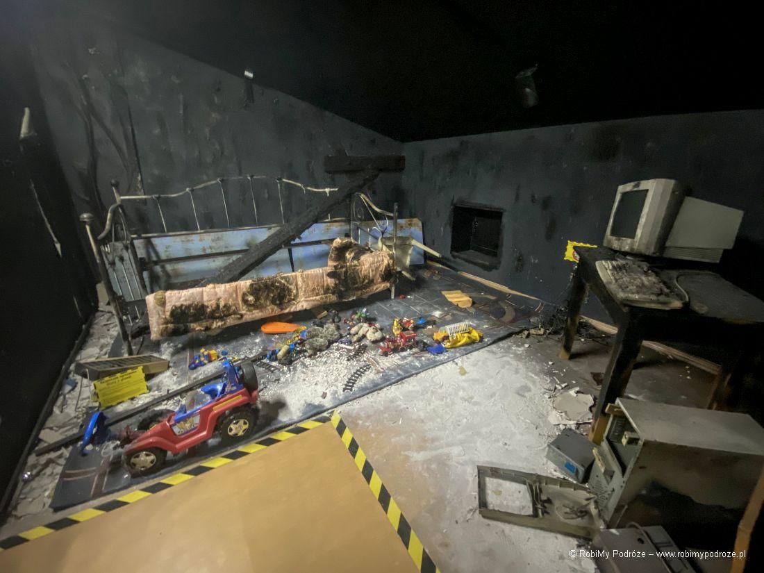 spalony pokój wmuzeum pożarnictwa