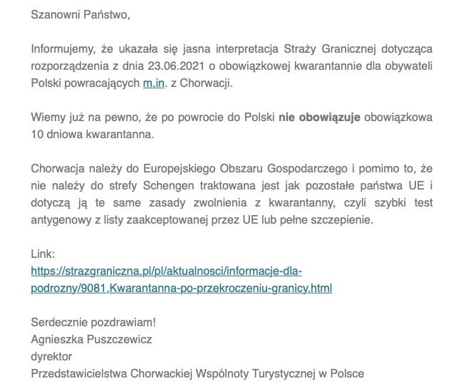 nowe zasady kwarantanny wPolsce zChorwacji